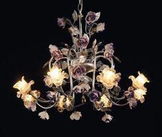 Chandelier in ceramic with Swarovski and Murano glass Murano Glass, Luxury Furniture, Chandeliers, Swarovski, Ceiling Lights, Ceramics, Home Decor, Art, Transitional Chandeliers