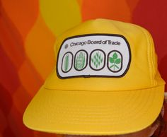 vintage 70's trucker hat CHICAGO board of trade patch snapback baseball cap rockstar 80s. $14.00, via Etsy.