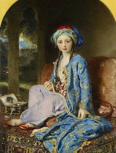 1850 Victoria, the Princess Royal (aged in Turkish costume - eldest child of Queen Victoria, by Sir William Ross, in the Royal Collection. Given to Prince Albert by Queen Victoria, c 24 cm x 18 cm. Victoria And Albert, Queen Victoria, Ross Williams, Princesa Victoria, Lawrence Alma Tadema, Princess Louise, The Royal Collection, Turkish Art, Turkish Design