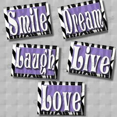PURPLE Zebra Print SMILE DREAM LIVE LOVE LAUGH Quote Art Girls Room Wall Decor