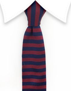 Burgundy & Navy Striped Knitted Tie