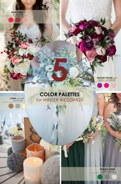 5 Winter Wedding Color Palettes