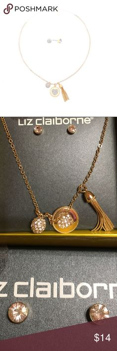 """Liz Claiborne necklace & matching earrings This set is new and comes in cute box. Original price is $24.00. Chain is 18"""" & is gold with 3 charms attached. Also has set of pierced earrings that comes with it. Liz Claiborne Jewelry Necklaces"""