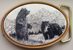 Belt Buckle Barlow Scrimshaw Carved Painted Art Traditional Bears Fishing 590619 #Barlow #Traditional