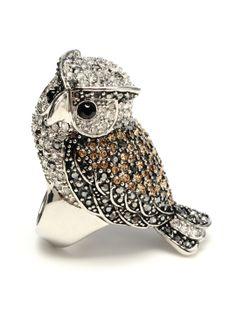 Crystal Owl Ring by Amrita Singh at Gilt