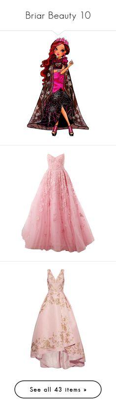 """Briar Beauty 10"" by bluetidegirl ❤ liked on Polyvore featuring dresses, gowns, long dresses, pink, zuhair murad, flared skirt, long red evening dress, long red dress, red evening dresses and pink evening gowns"