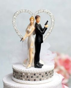 Super Sexy Spy Rhinestone Heart Wedding Cake Topper: Base Color: White - Sequin Trim Color: Gold >>> Don't get left behind, see this great product : Baking tools