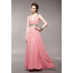 Elegant V-Neck Rhinestone Embellished Zipper Up Flouncing Hem Sleeveless Polyester Women's Dress