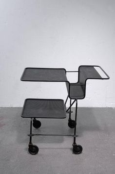 Mathieu Matégot; Painted Steel 'Java' Serving Trolley for La Villette, 1954.