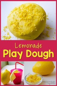 An easy recipe to make lemonade-scented play dough that smells AMAZING! It's a great way to incorporate some sensory play into a summer preschool theme or a fun activity to do at home! Tactile Activities, Playdough Activities, Fun Activities To Do, Summer Preschool Themes, Preschool Games, Sensory Play, Sensory Rooms, Sensory Table, Homemade Playdough
