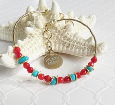 Red Coral and Turquoise Bracelet, Personalized Bracelet, Summer Inspired Fashion, Small Beaded Bracelet, Gold Filled, Skinny Stacking Bracelet