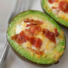 I love avocado's!! I must try this!!  AVOCADO BACON & EGGS...this is the BEST Breakfast!! Simple, cheesy and delicious!   Recipe...http://lilluna.com/avocado-bacon-and-eggs/ . FRIEND  ME! I am always posting awesome stuff! Www.fb.com/Charli.Hocutt