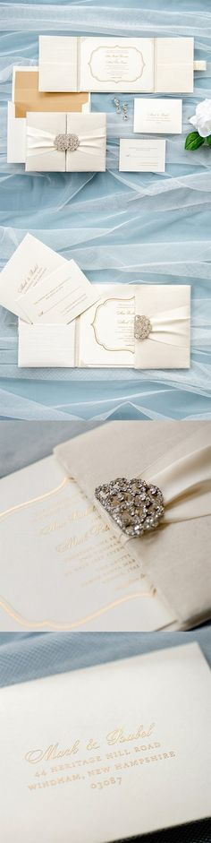 Silk #wedding #invitation by @engagingpapers. This stunning #silk gatefold folio is the ideal invitation for that luxurious and lavish wedding. The gatefold is covered in ivory #dupioni silk, accompanied by a 3-inch #satin #ribbon featuring an ornate crystal #rhinestone clasp. The invitation is mounted on the center panel, with two side pockets designed to hold the matching inserts.