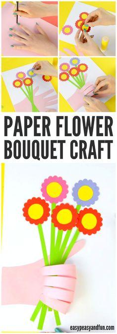 Adorable huella de la mano la flor del arte para los niños a hacer