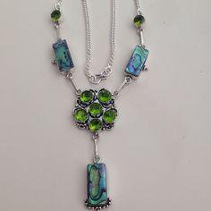 % 925 Sterling Silver Abalone Peridot Necklace