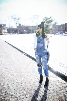 overalls, fishnet tights, winter style, winter outfit, beanie, zara, rebecca minkoff boots