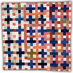 "'Blue Pink, Variation 4' from ""The Thirteens Series"" (2007-11) by American fiber quilt artist Eleanor McCain. 13 x 13 in. via the artist's site"