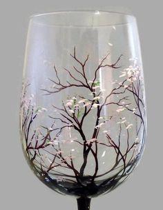 Tree Wine Glass Hand Painted Spring Flowering by LKCustomCreations – Valentine's Day Glass Bottle Crafts, Wine Bottle Art, Wine Glass Holder, Diy Wine Glasses, Hand Painted Wine Glasses, Wine Glass Designs, Glass Painting Designs, Bottle Painting, Glass Art