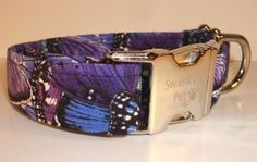 NEW -- Beautiful Butterfly Print Dog & Cat Collars in shades of purple. From Swanky Pet! Dog Collars.