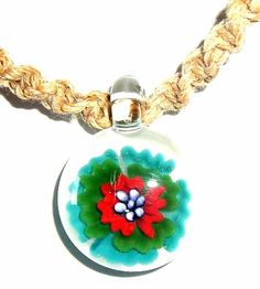 Hand-Blown Glass Pendant!!~ Molino Glass~ Fancy Flower~ Assorted Colors