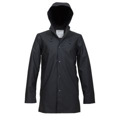 """Stutterheim's Arholma Svart - """"the last raincoat you will ever need"""". Slick, minimal, and well-made; you can wear it casually or formally. I'm down with that."""