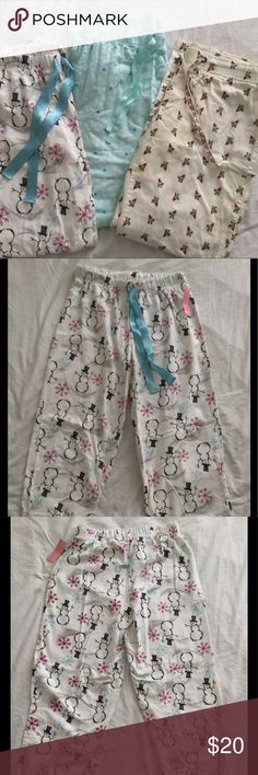 BUNDLE! 3 Pair Flannel Pajama Pants Left: Covington flannel pj pants NWT; Middle: Old Navy flannel snowflake pj pants NWT; Right: Old Navy Gnome flannel pj pants (color run on waist band shown in last photo) Old Navy Intimates & Sleepwear Pajamas