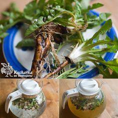 Na jaře máme několik možností, jak dostat do kondice naše játra a ledviny, zkrátka povzbudit naši látkovou výměnu a tím ozdravit celý organismus. Jednou z nich je odvar z celé pampelišky, kterou vyrýp Korn, Detox, Remedies, Health Fitness, Home And Garden, Herbs, Table Decorations, Healthy, Plants