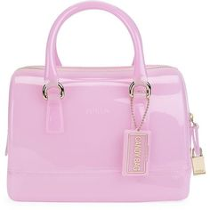 Furla Candy Cookie Satchel (250 PAB) ❤ liked on Polyvore featuring bags, handbags, pink purse, mini purse, handbag purse, transparent purse and mini satchel purse