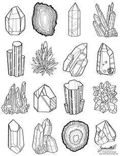 free coloring page of gem line art by Samantha C George
