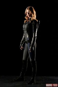 "Blacker widow! This is Adrienne Palicki's costume as agent Mockingbird's stealth suit in ABC's ""SHIELD."" No wonder Hawkeye likes."