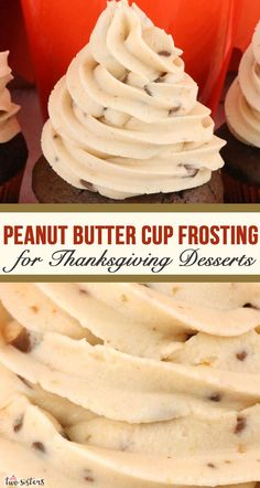 This absolutely is the Best Peanut Butter Cup Frosting for all your Thanksgiving Desserts. Creamy and delicious and super easy to make, this Peanut Butter Cup icing will make every Thanksgiving Treat you put it on better, we promise! Your friends and fami Homemade Buttercream Frosting, Frosting Recipes, Cupcake Recipes, Dessert Recipes, Butter Frosting, Fluffy Frosting, Dinner Recipes, Kid Desserts, Christmas Desserts