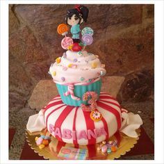 Vanellope's Cake of Wreck it Ralph I am so glad I could made this cake, so much fun!