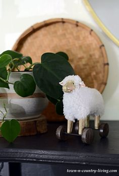 Child's Sheep Toy with Philodendron on Transitional Mantel Town And Country, Country Living, Cottage Farmhouse, Farmhouse Decor, Decorating Small Spaces, Vignettes, Fall, Sheep, Creative