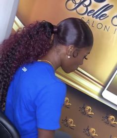 Nice Natural Black Long Straight Hairstyles hair inspiration ideas for pretty wo Weave Ponytail Hairstyles, Ponytail Styles, Curly Hair Styles, Natural Hair Styles, Curly Ponytail Weave, Hair Styles With Weave, Black Girls Hairstyles, Straight Hairstyles, Black Girl Ponytails