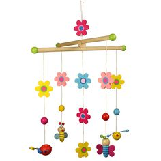 This lovely, natural looking mobile features bright colours and cheerful creatures including butterflies, a caterpillar and even a friendly spider, together with pretty wooden flowers. Perfect for any nature lover's nursery! Baby Cot Mobiles, Space Toys, Wooden Flowers, Toy Rooms, Gone With The Wind, Wooden Garden, Room Accessories, My Little Girl, Girls Bedroom