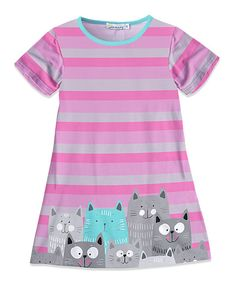 Take a look at this Pink & Gray Stripe Cat A-Line Dress - Toddler & Girls today!