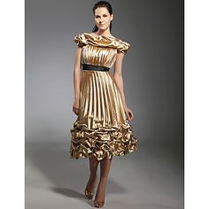 A-line Off-the-shoulder Knee-length Elastic Woven Satin Sex and The City/ Cocktail Dress – USD $149.99