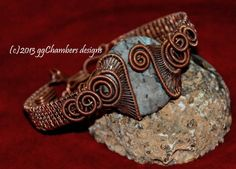 Copper Woven Wire Helix Bracelet with Blue by ggChambersDesigns, $78.00