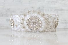 Vintage Glam  Vintage inspired couture wedding garter adorned with encrusted Swarovski crystals and pearl beads.