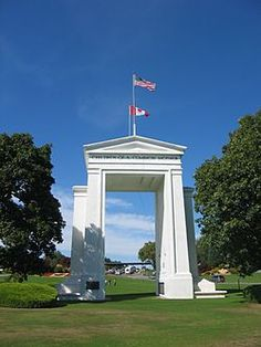 The Peace Arch is a monument situated on the border of Canada and the USA. it was built in 1921 to commemorate the signing of the Treaty of Ghent in 1814.