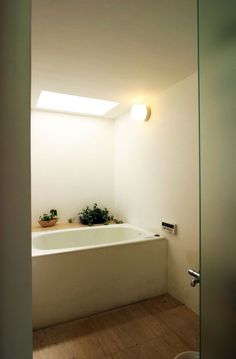 Interior, Two Levels Contemporary Glazed And White Home Interior Design By Tomoaki Uno Architects: White Bathtub With Green Plants In Side