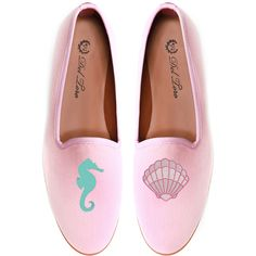 Del Toro Prince Albert Seahorse | Clam Slipper Loafers ($340) ❤ liked on Polyvore featuring shoes, loafers, flats, mermaid, pale pink, flat shoes, embroidered shoes, fleece-lined shoes, striped shoes and flat pump shoes