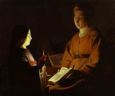 Georges de La Tour (Studio of) - Formerly Attributed to Étienne de La Tour - The Education of the Virgin, c. oil on canvas, The Frick Collection, New York; Jacques Callot, Baroque Painting, St Anne, Chiaroscuro, Elements Of Art, Our Lady, Contemporary Paintings, Vanitas, Sailboat