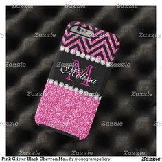 Pink Glitter Black Chevron MonogramMED