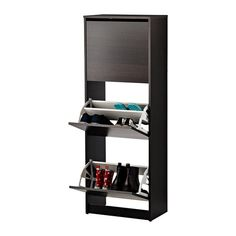 BISSA Shoe cabinet with 3 compartments IKEA Helps you organize your shoes and saves floor space at the same time.