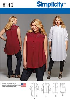 Simplicity Pattern 8140 - Plus Size Shirt with Length and Sleeve Variations. These shirts, exclusively in plus sizes, have front yoke, knee or tunic length with side slits, shirt tail or high low hemlines. View D features contrast lace yoke. Plus Size Sewing Patterns, Simplicity Sewing Patterns, Clothing Patterns, Sewing Clothes Women, Diy Clothes, Patron Simplicity, Sewing Blouses, Plus Size Kleidung, Tunic Pattern