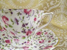 Image detail for -Rosina/Queens China Chintz Teacup and Saucer- Vintage- Pink Roses and ...