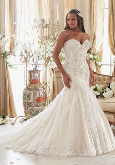 The Chic Technique: Wedding Dresses and Bridal Gowns by Morilee designed by Madeline Gardner. Crystallized Embroidery on Tulle with Scalloped Hemline Plus Size Wedding Dress Mori Lee Bridal, Mori Lee Wedding Dress, Fit And Flare Wedding Dress, Lace Wedding Dress, Bridal Wedding Dresses, Wedding Dress Styles, Designer Wedding Dresses, Bridesmaid Dresses, Mermaid Wedding Dress Bling
