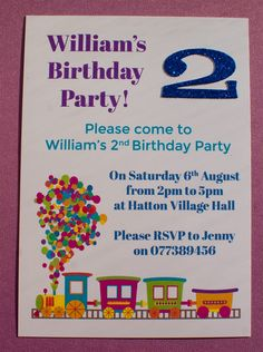 Personalised Handmade Birthday Party Invitations Thank You Cards Train Glitter Number Age