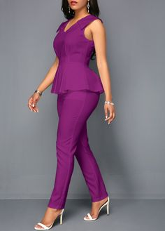 Peplum Waist V Neck Sleeveless Jumpsuit Latest African Fashion Dresses, African Print Fashion, Big Girl Clothes, Clothes For Women, Shorts E Blusas, African Shirts For Men, Long Sleeve Evening Gowns, Business Casual Attire, Backless Maxi Dresses